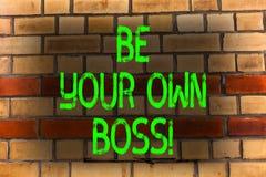 Текст сочинительства слова ваш собственный босс Концепция дела для компании начала работая не по найму запуск предпринимателя раб стоковое изображение