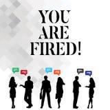 Текст сочинительства слова вы увольняны Концепция дела для выходить от работы и, который стали безработного не конца карьера иллюстрация вектора