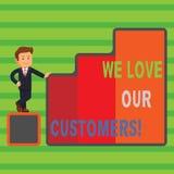 Текст сочинительства слова мы любим наших клиентов Концепция дела для клиента заслуживает хорошее уважение удовлетворения обслужи иллюстрация штока