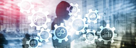 Технология автоматизации и умная концепция индустрии на запачканной абстрактной предпосылке Шестерни и значки стоковое изображение rf