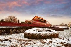 Тяньаньмэнь и снега, Пекин стоковые изображения