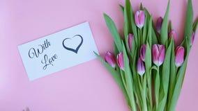 Тюльпаны на розовой предпосылке Женщина кладя поздравительную открытку с текстом С ЛЮБОВЬЮ Сразу над взглядом сток-видео