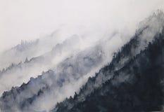 Туман горы ландшафта чернил акварели традиционный восточный стиль искусства Азии чернил рука нарисованная на бумаге иллюстрация штока