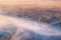 Туман утра в Иркутске, России стоковые изображения rf