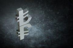 Турецкие символ или знак валюты с отражением зеркала на темной пылевоздушной предпосылке стоковые фотографии rf