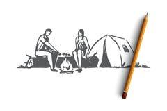 Туристы, шатер, огонь, лагерь, концепция природы Вектор нарисованный рукой изолированный иллюстрация вектора