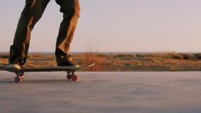 Тысячелетние езды скейтбордиста хипстера в заходе солнца сток-видео