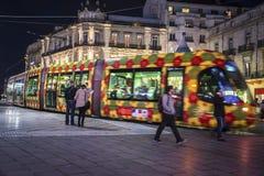 Трамвай на месте de Ла Comedie, Монпелье, Франции стоковое изображение rf