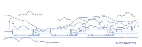 Трейлеры тележки груза управляя шоссе дороги над транспортом экспорта импорта предпосылки ландшафта гор логистическим иллюстрация вектора