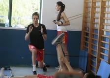 Тренировка команды женщин баскетбола Испании национальная на спортзале стоковая фотография