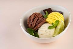 Трио вкусных ванили и известки шоколада приправило замороженный десерт в белом шаре стоковые фотографии rf