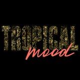 Тропическая печать футболки настроения с экзотическими заводами иллюстрация штока