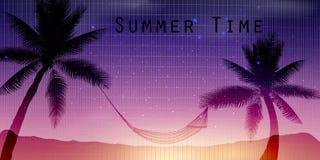 Тропическая предпосылка лета с с ладонями, небом и заходом солнца иллюстрация штока