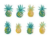 Тропический дизайн grunge ананаса ананасов партии пляжа Черная белая печать иллюстрация штока
