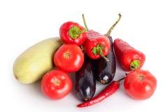 Томаты, красные сладкие перцы, накаленные докрасна перцы чилей, фиолетовые баклажаны, зеленый цукини в падениях воды стоковые фотографии rf