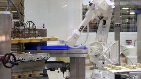Торты чашки фабрики печенья машины промышленного робота видеоматериал