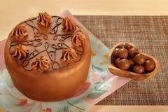 Торт губки шоколада с завалкой банана стоковое изображение