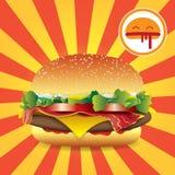 Фаст-фуд гамбургера на предпосылке прокладок голубой вектор неба радуги изображения облака иллюстрация штока