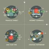 Финансовый рынок, коммерция интернета, за исключением вашего времени, стратегическое партнерство иллюстрация вектора