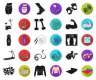 Фитнес и атрибуты чернят, плоские значки в установленном собрании для дизайна Сеть запаса символа вектора оборудования фитнеса бесплатная иллюстрация