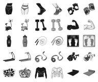 Фитнес и атрибуты чернят, monochrome значки в установленном собрании для дизайна Сеть запаса символа вектора оборудования фитнеса иллюстрация штока