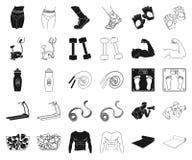 Фитнес и атрибуты черные, значки плана в установленном собрании для дизайна Сеть запаса символа вектора оборудования фитнеса иллюстрация вектора