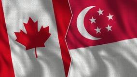 Флаги Канады и Сингапура половинные совместно иллюстрация штока
