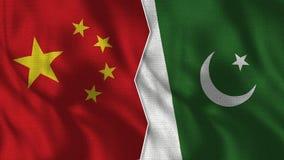 Флаги Китая и Пакистана половинные совместно бесплатная иллюстрация