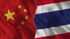 Флаги Китая и Таиланда половинные совместно иллюстрация штока