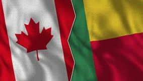 Флаги TogetherBenin Канады и Бенина половинные стоковое изображение rf