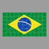 Флаг головоломки Бразилии на серой предпосылке иллюстрация вектора
