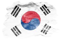 Флаг Южной Кореи показан в жидкостном стиле акварели изолированный на белой предпосылке иллюстрация штока