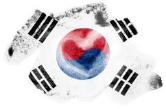 Флаг Южной Кореи показан в жидкостном стиле акварели изолированный на белой предпосылке бесплатная иллюстрация