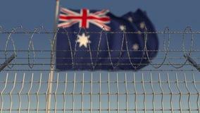 Флаг Blurred развевая Австралии за загородкой колючей проволоки 3D анимация Loopable сток-видео