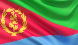 флаг eritrea Развевали сильно детальная текстура ткани иллюстрация 3d иллюстрация штока