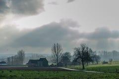 Фламандский ландшафт в зиме стоковое изображение