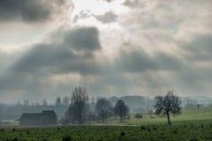 Фламандский ландшафт в зиме стоковая фотография
