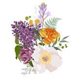 флористические иллюстрация, лист и бутоны Ботанический состав для свадьбы, поздравительная открытка бесплатная иллюстрация