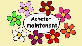 Французский рекламируя зажим видео- покупка 4k и текста теперь Цветки летая вокруг слов покупают теперь