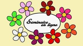 Французский рекламируя зажим видео- 4k и онлайн слов webinar Цветки летая вокруг текста webinar