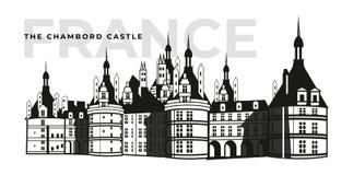 Французское здание замка Chambord замка Архитектура или средневековый дворец на Франции, старой крепости или взгляде ретро особня бесплатная иллюстрация