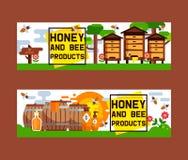 Фон знамени пчеловодства фермы пасеки вектора меда сладкий установил предпосылку иллюстрации beeswax насекомого пчелы honeymaker иллюстрация вектора