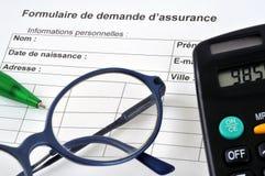 Форма для заявления для страхования во французском стоковое фото rf