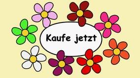 Цветки и текст Deutsch покупают теперь Картина мультфильма с цветками и покупкой надписи теперь