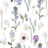 Цветки луга, трава, травы сада Безшовная травяная предпосылка в светлых цветах для дизайна моды иллюстрация вектора