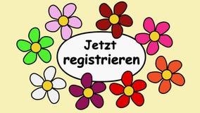 Цветки Deutsch и регистр текста теперь Картина мультфильма с цветками и регистром надписи теперь