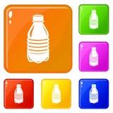 Цвет вектора бутылки с водой установленный значками бесплатная иллюстрация