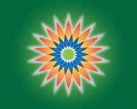 Цветок жизни геометрия священнейшая Символ вектора духовный Голубая и красная неоновая иллюстрация вектора на зеленой предпосылке иллюстрация штока