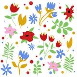Цветок установил для карты лета иллюстрация штока