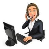 центр телефонного обслуживания бизнес-леди 3d иллюстрация штока